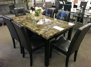 Brand New 7 Piece Faux Marble Dining Set (New in Box) for Sale in Silver Spring, MD