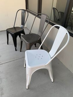 NEW $30 Each Metal Iron Steel Chair Black White or Gun Metal Color Stackable 340 lbs Capacity Dining Indoor Outdoor Chair  for Sale in Pico Rivera, CA