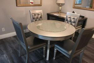 New!! 5 Pcs Silver Round Dining Set • No Credit Needed • Just $49 down payment 💥 • Apply 📲 Online or in our Showroom for Sale in Las Vegas, NV