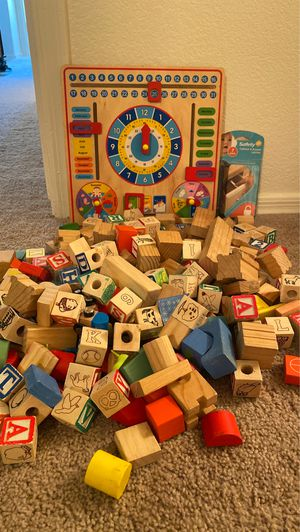 Wood blocks Melissa and Doug learning tool and baby safe cabinet latches for Sale in Amarillo, TX