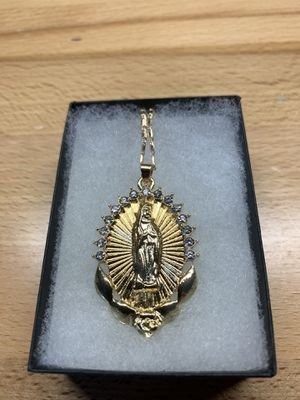 "New 24"" Virgin Mary Pendant & Necklace Gold Plated for Sale in Fresno, CA"