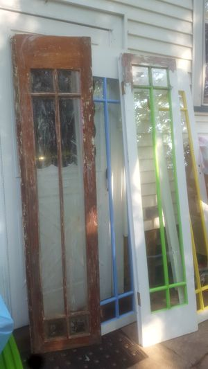 Vintage, solid wood french doors! Good project for someone. I started to refinish them. They'll be beautiful!! for Sale in Peoria, IL