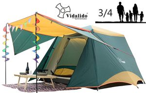 8'x6.5'x5.5'Square Double Door Curtain 3-4 Person Family Outdoor Camping Tent 4 Season Double Layers Waterproof Anti-UV Windproof Tents for Sale in Burbank, CA