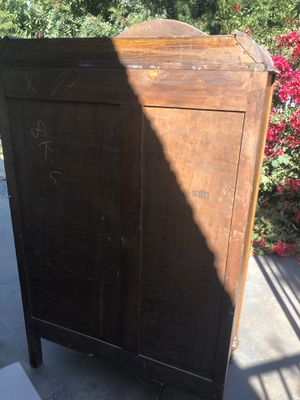 Antique 3 pc bedroom set. Full size head/foot board, armoire, vanity with mirror. Must pick up. No trades. for Sale in Anaheim, CA