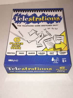 Telestrations Telephone Drawing Family Board Game 6 Player Family Pack COMPLETE for Sale in Raleigh, NC