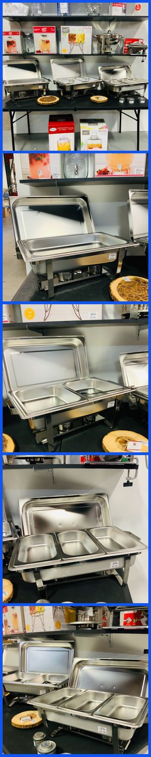 FULL SIZE DOUBLE 3 TRAYS DISH CHAFERS STEAMER WATER PAN CATERING SUPPLIES ON SALE ONLY DETAILS IN THE DESCRIPTION SALES SEPARATE STAINLESS STEEL CHAF for Sale in Westminster, CA
