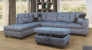 Blue linen sectional couch and storage ottoman for Sale in Renton, WA