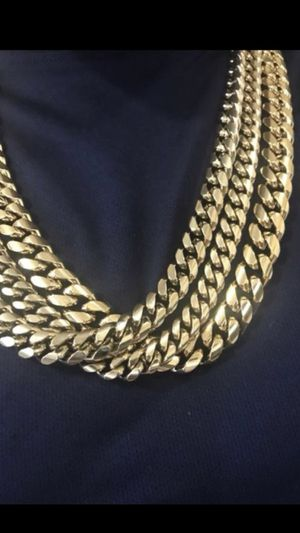 Miami Cuban chain and Bracelet 14-18KT Gold Plated Over Stainless Steel for Sale in Philadelphia, PA