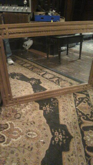 Deco style wall mirror beveled glass carved inches 32 in by 44 in for Sale in Cleveland, OH