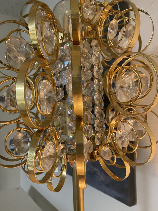 Vintage required and refurbished brass and crystal lamp