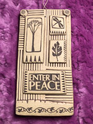 Vintage Ceramic enter in peace plaque made by potters shed Hippie leaf dragonfly tree life for Sale in Portland, OR