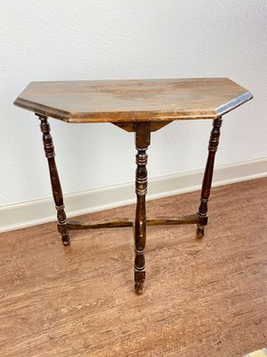 Antique Wood Half Octagon Side Table Geometric End Table for Sale in Denver, CO