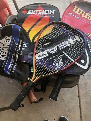 3 racquetball rackets, 1 tennis racket for Sale in Chandler, AZ