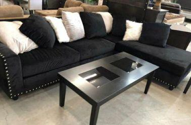 velvet reversible sectional sofa black for Sale in Houston,  TX