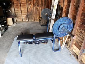 Brench Press, curl bar, weights for Sale in Detroit, MI