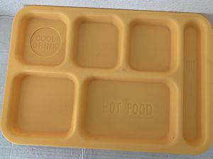 5 Yellow Lunch Cafeteria Trays 6-Compartments Hot Food Cold Drink Area Retro for Sale in Beaverton, OR