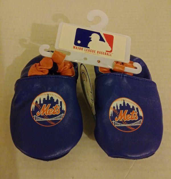 NEW New York Mets Baseball Crib Shoes / Slippers for Baby, MLB, SKIDDERS