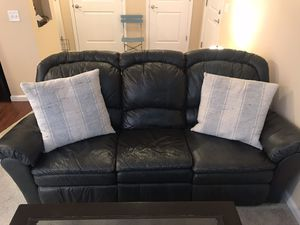 Leather Couch (Charcoal Gray/Black) for Sale in Gahanna, OH