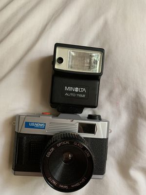 Vintage 1980's Promotional Camera from US News and World Report 35mm Camera with Color Optical Glass Lens 1:6f 50mm. The flash was added. Pick up in for Sale in Clayton, NC