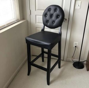 Single Black Modway Button Bar Stool Tall Chair Faux Black Modway Button Tall Chair Faux Leather for Sale in Reston, VA
