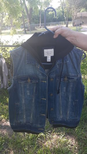 Jean no sleeve jacket with hoodie for Sale in Houston, TX