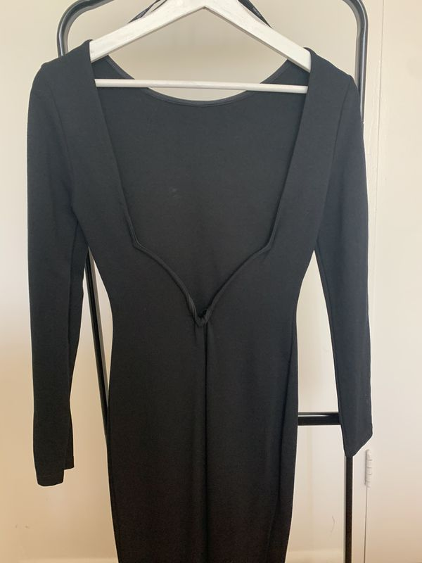 Black Dress with Open Back (midi) - S/M