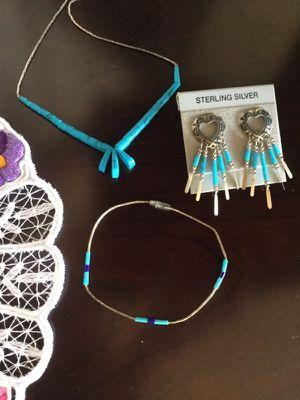 SILVER Jewelry set 💖🌷 Aqua blue beads & silver 💙💎 for Sale in Alexandria, VA