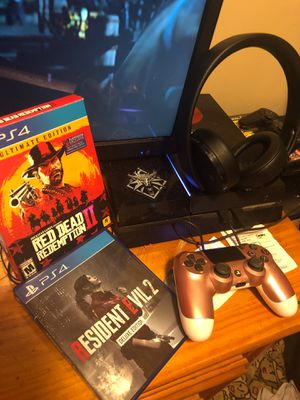 PS4 (PlayStation 4) (Price Negotiable) + Controller + Headset + Cables for Sale in Raleigh, NC