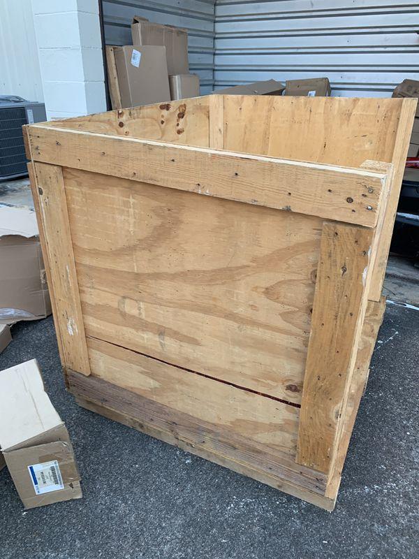 Wood crate. I do have all four sides. Has a bottom gaps for forklift or pallet jacks.