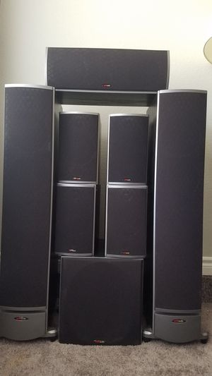 8 Polk Audio, high end home speakers and subwoofer. for Sale in Las Vegas, NV