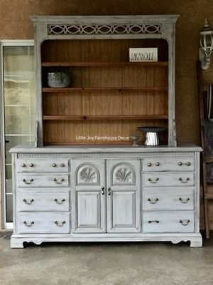 Farmhouse French Country Credenza with Hutch/Bookcase/China Cupboard/Drawers Dresser/Home Office/Buffet Table for Sale in West Covina, CA