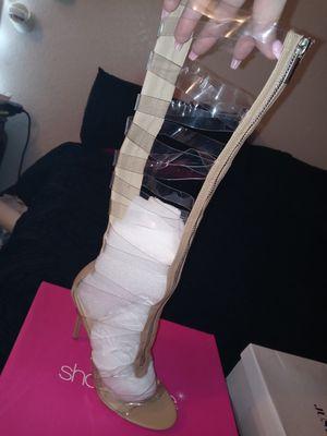 Clear knee high gladiator heels for Sale in Diamond Springs, CA
