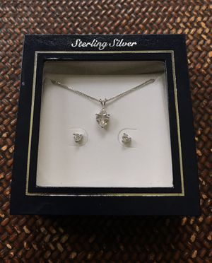 💎💗 Cubic Zirconia and Sterling Silver Heart Pendant and Earrings Gift for Sale in Chicago, IL