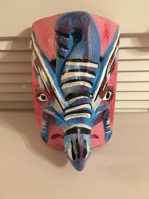 Large Mexican Folk Art Hand Carved and Painted Mask Wall Hanging for Sale in Sun City, AZ