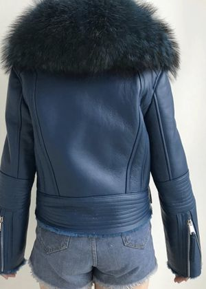 Teal Merino Sheepskin Leather Jacket with Raccoon Furl Collar for Sale in Philadelphia, PA