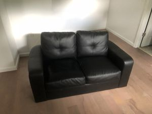 Black Leather IKEA Love sofa couch for Sale in Fort Washington, MD