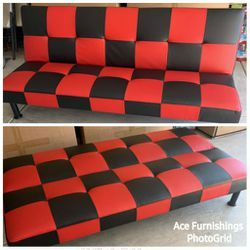 Brand New Black & Red Checkered Leather Tufted Futon for Sale in Graham,  WA