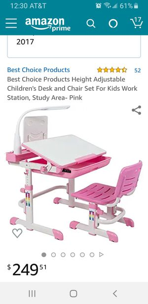 Children's Desk and Chair Set For Kids Work Station, Study Area- Pink for Sale in Anaheim, CA