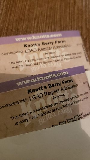 Knotts tickets (2) for Sale in Ontario, CA