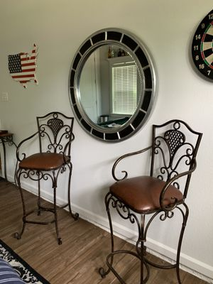 Bar stools for game room. Book shelf. 2 matching couch seats, small tall table for Sale in Kennedale, TX