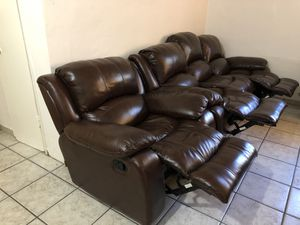 Genuine Leather Sofa Couch Reclines + Reclining Chair 1 yr old Like New - Dark Brown for Sale in Florida City, FL
