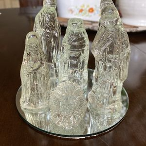 Vintage Glass Nativity Scene With Display Mirror Holiday Decor Christmas for Sale in Gastonia, NC