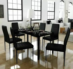 Brand new 7-piece modern dining table, dining room table, dining set, juego de comedor with glass tabletop and 6 chairs. *SAME DAY DELIVERY* for Sale in Fort Lauderdale, FL