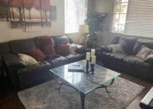 2 Brown Leather Couches for Sale in Rancho Cucamonga, CA