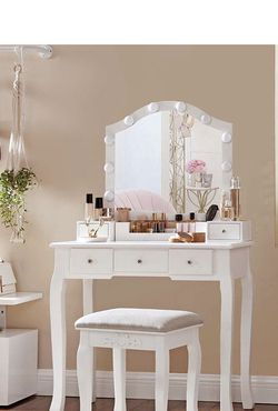 Makeup Vanity Set, Dressing Table Set with Mirror, 10 Light Bulbs, 6-Slot Removable Organizer, 5 Drawers, 1 Drawer Divider, Cushioned Stool, for Bedro for Sale in Corona,  CA