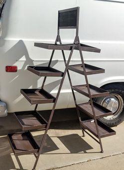 Nice Mobile Folding 10 Tray Display Shelf Fruit Stand w/ Chalkboard for Sale in Phoenix,  AZ