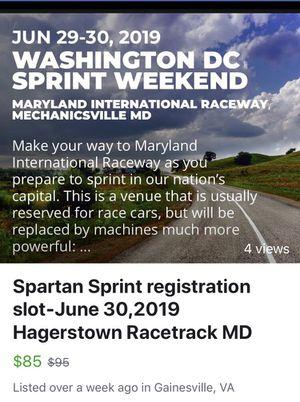 Spartan sprint registration for Sale in Gainesville, VA