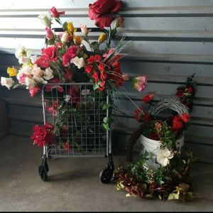 Massive Fake Flower Floral Arrangement Roses Wreaths Leaves Plants Decor Lot for Sale in Citrus Heights, CA