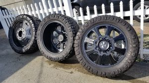 "Dually wheels 8x200 22"" w/ nitto ridge grappler 35s for Sale in Renton, WA"