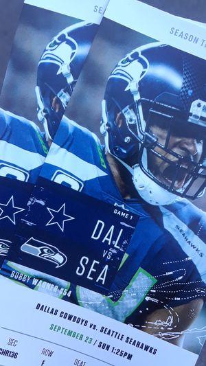 50 Yard Line Seahawks vs Cowboys for Sale in Seattle, WA